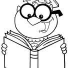 Ausmalbild  Eule mit Buch zum Ausdrucken
