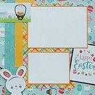 EASTER 12x12 Premade Scrapbook Pages - The Hunt Is On - Easter Bunny - Easter Egg Hunt - Scrapbooking Layout