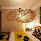 Vintage hanglamp E27, kroonluchter, retro, industriële hanglamp, natuurlijk bamboe, geweven, in hoogte verstelbaar, lamp voor eetkamer, studeerkamer, woonkamer, café