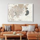 GAINESVILLE FL Framed Canvas Map Print Retro Style Floating Frame Wall Art  Ready to Hang White Floater Frame Beige Green Retro Map