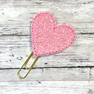 Chunky Glitter Heart Planner Clip, Glitter Feltie Clip, Heart Feltie Clip Heart Paperclip Bookmark,