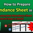 Attendance Sheet in MS Excel | Fully Automated Attendance Sheet Template