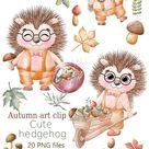 Cute Hedgehogs Cliparts Autumn Clipart Fall Clipart kids   Etsy