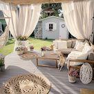 10€ Gutschein auf alles - Code PinDE2021 / Gartenmöbel Set Hellbraun Akazienholz Textil 4-Sitzer Terrasse Outdoor Retro Landhaus Beliani