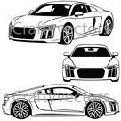 Audi R8 V10 2018 vector SVG file