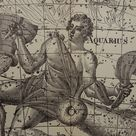 CAPRICORN old astrology print 1923 original vintage astronomy map of Aquarius Capricorn sign constellation stars zodiac antique illustration