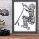 Scooter Word Art, Personalised Word Art, Stunt Scooter, Skate Park, Special Teenager  Gift, Preteen Birthday Gift, Scooter Merch