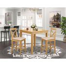 East West Furniture Modern 3 piece Dining Set   Oak Pub Table and 2 Kitchen Counter Chairs in Oak Finish Pieces Option
