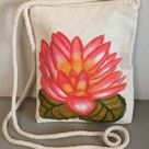 Travel Purse Hand Painted Waterlily Purple Flower Purse   Etsy