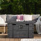 Loon Peak® Concrete Propane Outdoor Fire Pit w/ Lid in Gray, Size 24.0 H x 46.3 W x 22.5 D in   Wayfair