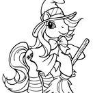 Coloriage Petit poney déguisée en sorcière - Mon Petit Poney