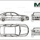 Audi A8 6.0 Quattro 2004   2D drawing blueprints   25510   Model COPY   English