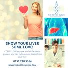 It is time to show your liver some love! Coffee Enemas play a vital part in the detoxification process. The purpose is to remove toxins accumulated in the liver and to remove free radicals from the bloodstream. We offer a combined treatment of a Colonic & Enema for £100. But what is more convenient is our Course of treatments and we have an offer for 3x Colonics & 3x Enemas for £250. Have a look at our website for more information and book your treatment there or by calling us on 0151