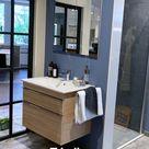 Bad mit Vintage-Fliesen gestalten | Schlichter Waschtisch zu bunter Bodengestaltung | Landhaus