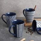 romeidata 4 Piece Coffee Mug Set in Blue, Size 4.7 H in | Wayfair