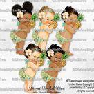 Island Girl Tropical Hawaiian Pink Green Hibiscus Pineapple Luau | Baby Girl 3 Skin Tones | Clipart Instant Download
