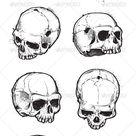 Hand Drawn Skulls Set
