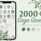iOS 14 App Icons Organic   Green boho, nature, neutral tones, plants, botanical, mint   Aesthetic Home Screen iPhone   Hand drawn widgets