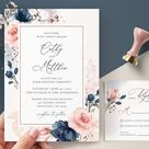 Navy Blue and Blush Pink Wedding Invitation Template Invite | Etsy