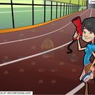 A Female Hair Stylist Preparing Her Styling Tools and Indoor Running Track Background