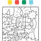 Ausmalbild Malen nach Zahlen Weihnachtskerze ausmalen kostenlos ausdrucken