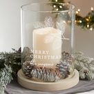 Personalization Mall Festive Foliage Personalized Christmas Hurricane w/ Whitewashed Wood Base   Wayfair