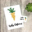 Frohe Ostern Karte & Geschenkanhänger (Karotten-Motiv), selbst ausdrucken | Lu Lettering