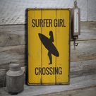 Girl Surfer Sign, Wooden Surfer Lover Signs, Surfing House Lifestyle, Ocean Decor, Wooden Sale Decor, Wooden Wall Decor - Wooden Old Sign