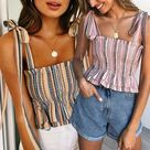 16.33US $  Women Casual Clothes Sexy Wrapped Chest Printed Halter Strapless Lace up Top Super Sleeve Bow Tops Womens Clothing Camis      AliExpress