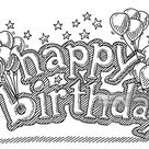 Hand-drawn vector drawing of Happy Birthday Letters with Balloons and...