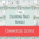 Giant Coloring Pages Bundle - Commercial License, 75 pages, 14 themes, AI, Jpeg, PDF Digital Instant