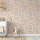 Rainbow Pattern Removable Wallpaper, 70s Retro Wall Decal, Pastel Wall Mural, Vintage Living Room Decor, Bright Modern Stick and Peel Decal - Canvas Wall Decal / 1 roll: 24W x 84H