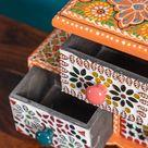 3 Drawer Orange Mosaic Wooden Spice Box