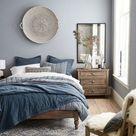 Moderne blaue Hauptschlafzimmer-Ideen – savillefurniture