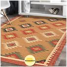 Durries India Art Geometric Rug - Stunning One Of A Kind Handcrafted Boho Accessory   Area Rug For Living Room, Mothers & Birthdays