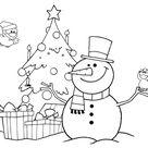Kostenlose Malvorlage Weihnachten: Schneemann und Christbaum zum Ausmalen