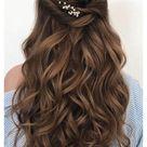 bridesmaid hair half up long bridal parties