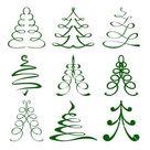 Christmas trees sketch set vector image on VectorStock