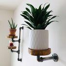 Rustic Industrial Pipe Floating Plant Shelf Hanger | Etsy