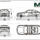 BMW 1 Series Convertible 128i '2013   2D drawing blueprints   39425   Model COPY   English