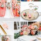 Luxurious Wedding Inspiration in Coral and Apricot   Magnolias on Silk
