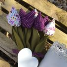 MinI fabric flower bouquet in purples and white, mini tulips with  pot,  Mother's Day, Valentines, Birthday, Spring, new home, anniversary
