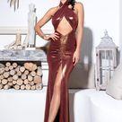 Cross Straps Cut Out Glitter Bodycon Maxi Dress - Brown / XS