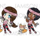 Let's Get Physical Chibis - Choice of skintone/hair color - Please Read Listing Details