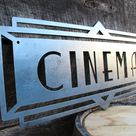 Metal Art Deco Movie Marquee Sign - Vintage Cinema Decor - Retro Home Theater Wall Art - Movie Room Decor - Vintage Film Art - Free Shipping - 28 x 12 / Outdoor Gloss White