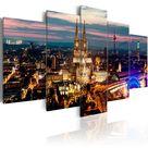 Night Panorama - 5 Piece Graphic Art Print Set on Canvas East Urban Home Size: 100 cm H x 200 cm W