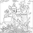 Kleurplaat van Bambi en zijn vriendjes