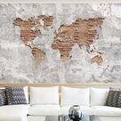 Strukturierte Fototapete Weltkarte aus Ziegelsteinen