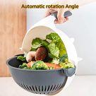 10 in 1 Multifunction Rotate Vegetable Cutter with Drain Basket, New Veggie Mandoline Slicer Grater Shredder, Food Strainer Fruit Colander