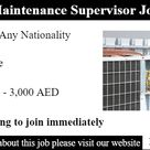 Building Maintenance Supervisor Job In Dubai